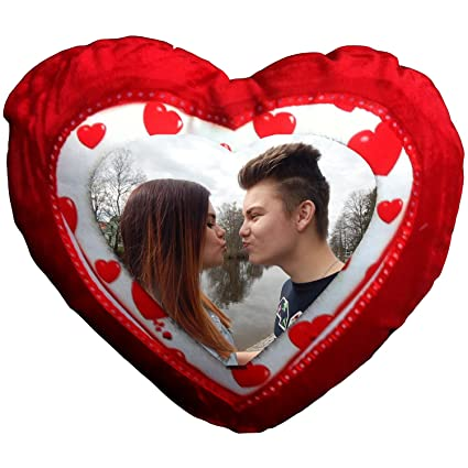 Buy Tohfah4u Photo Printed Heart Shaped Cushion with Filling Inside ...