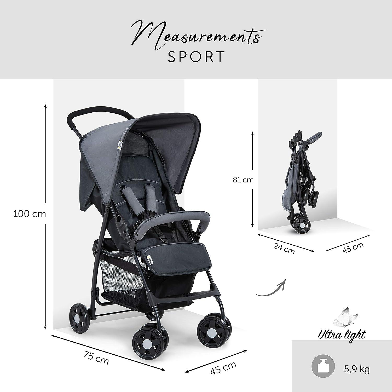 sistema de arn/és de 5 puntos Azul Moonlight Capri plegable Hauck Sport Silla de paseo ligera y practica para bebes de 0 meses hasta 15 kg respaldo reclinable