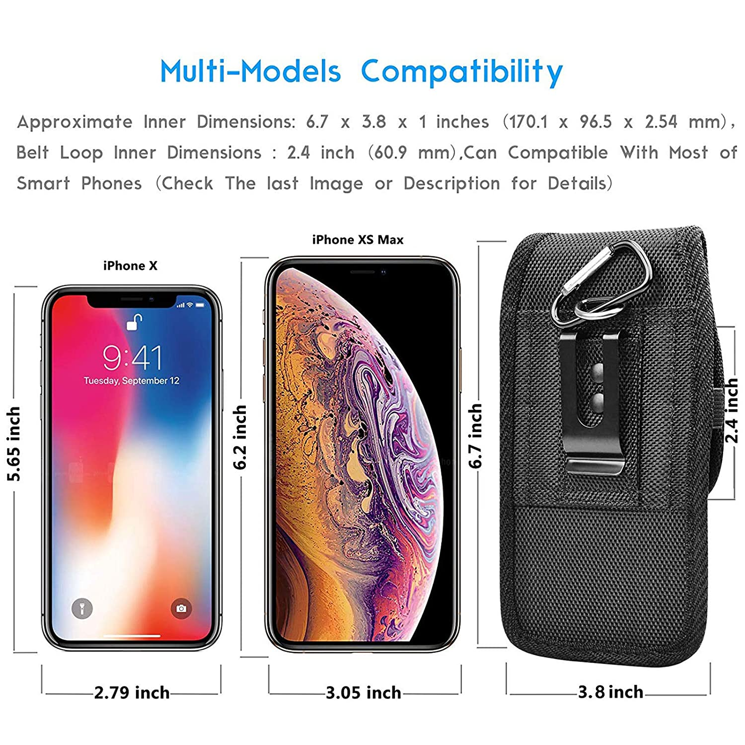 Eutekcoo Phone Holster Universal for Samsung Galaxy A70 A50 S10 S9 S8 Note 10 9 8//Xiaomi Mi 9 A2 A7 Redmi 8 K20 Pro//Oneplus 7 6 6.7 Vertical Nylon Oxford Wallet Case Belt Clip Pouch RFID Card Slots