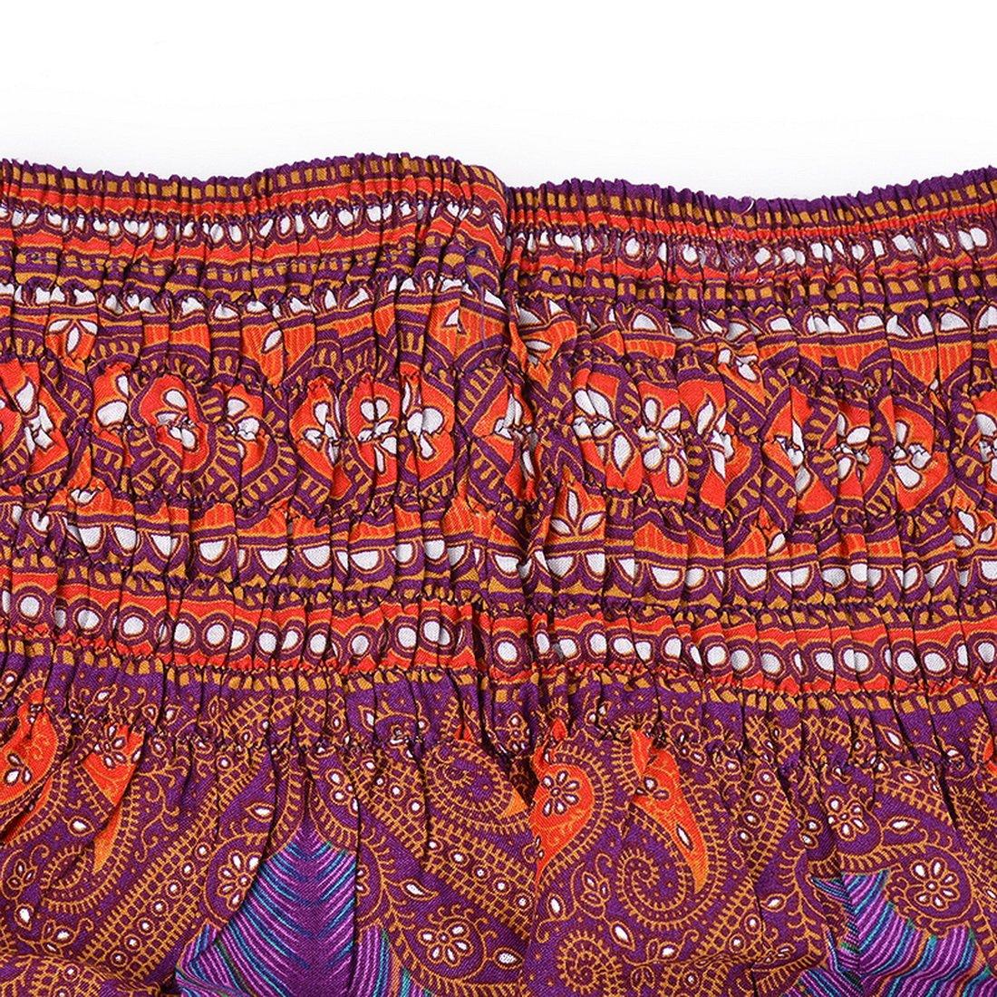 Shujin Damen Hippie Hose Boho Harem-Stil Pumphose Haremshose mit Pfauendruck Blumenmuster Pluderhose Sommerhose Yoga Pants Aladin Freizeithose mit Taschen