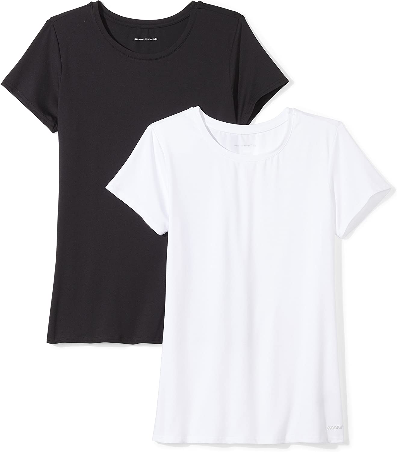 Amazon Essentials Women's 2-Pack Tech Stretch Short-Sleeve Crewneck T-Shirt