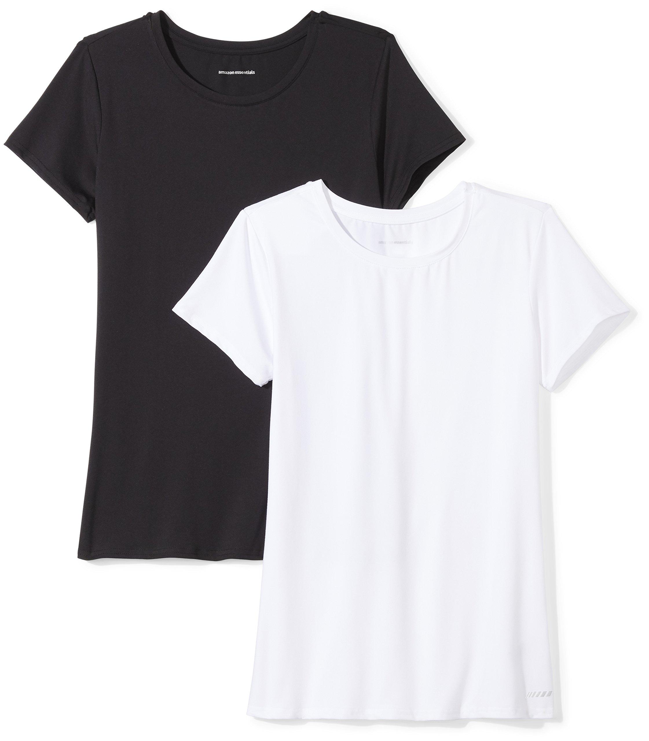 Amazon Essentials Women's 2-Pack Tech Stretch Short-Sleeve Crewneck T-Shirt Shirt, Black/White, Large