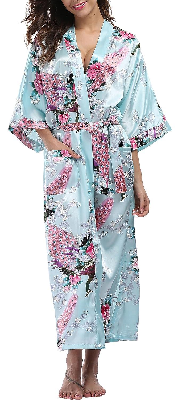Womens long kimono robe satin bridesmaids robe peacock blossoms with  pockets at amazon womens clothing store 8936171d5