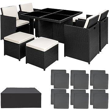 TecTake Conjunto muebles de jardín en aluminio y ratán sintético ...