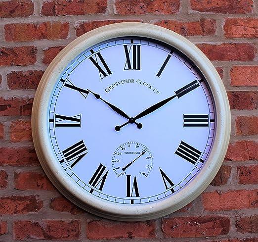 Reloj de pared de metal Jardín Grande Termómetro 24
