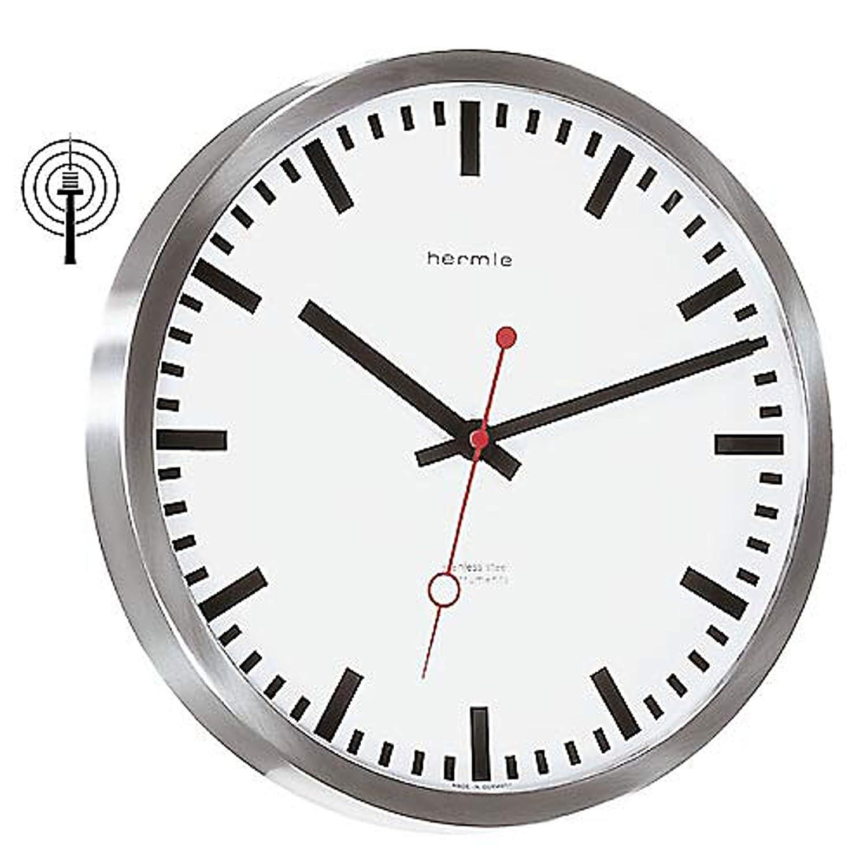 Bahnhofs-Funkuhr mit Edelstahlgehäuse - (30471-000870)