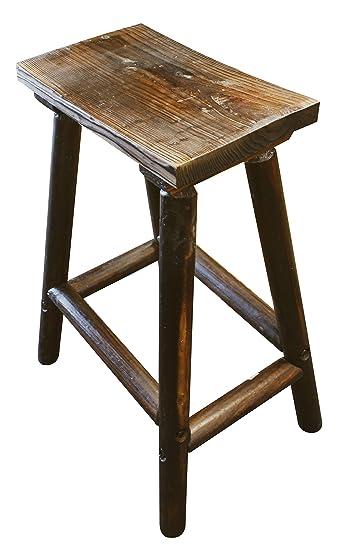 Char Log Saddle Stool, 28 Inch