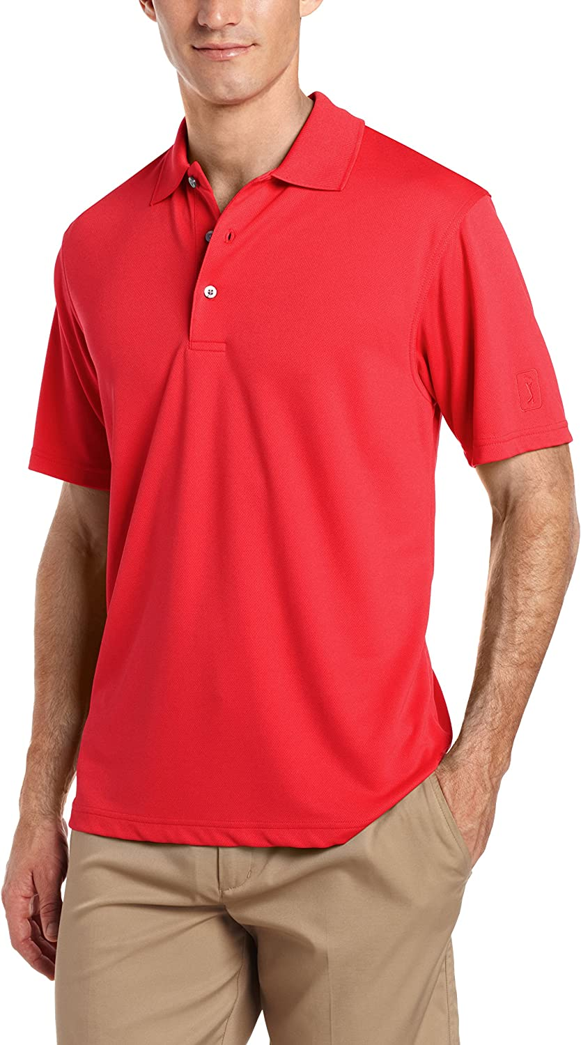 PGA TOUR Men's Airflux Short Sleeve Solid Polo-Shirts at  Men's Clothing store