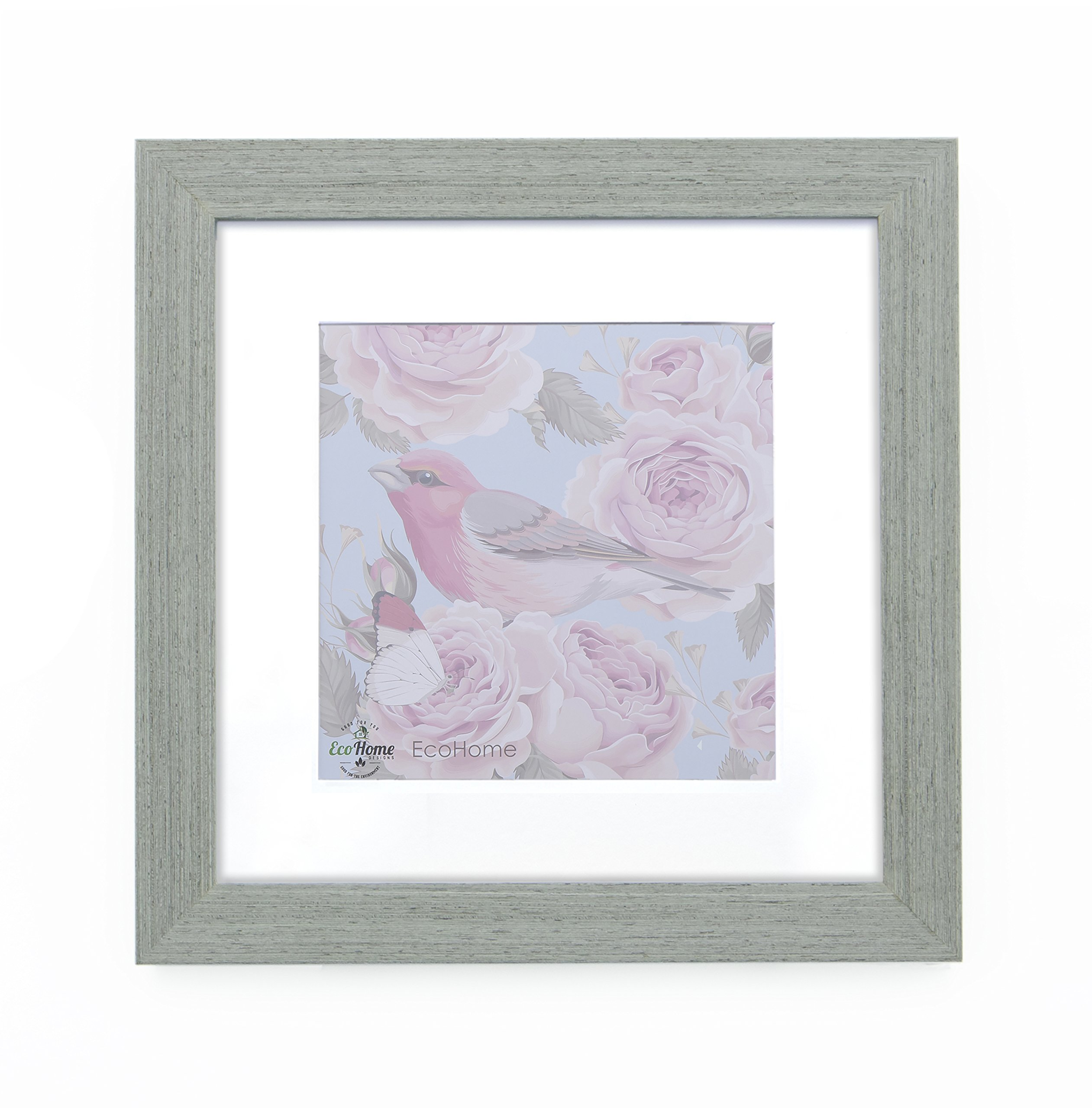11x11 Picture Frame Square Grey - Barnwood Matted to 8x8 Instagram Photo, Frames by EcoHome
