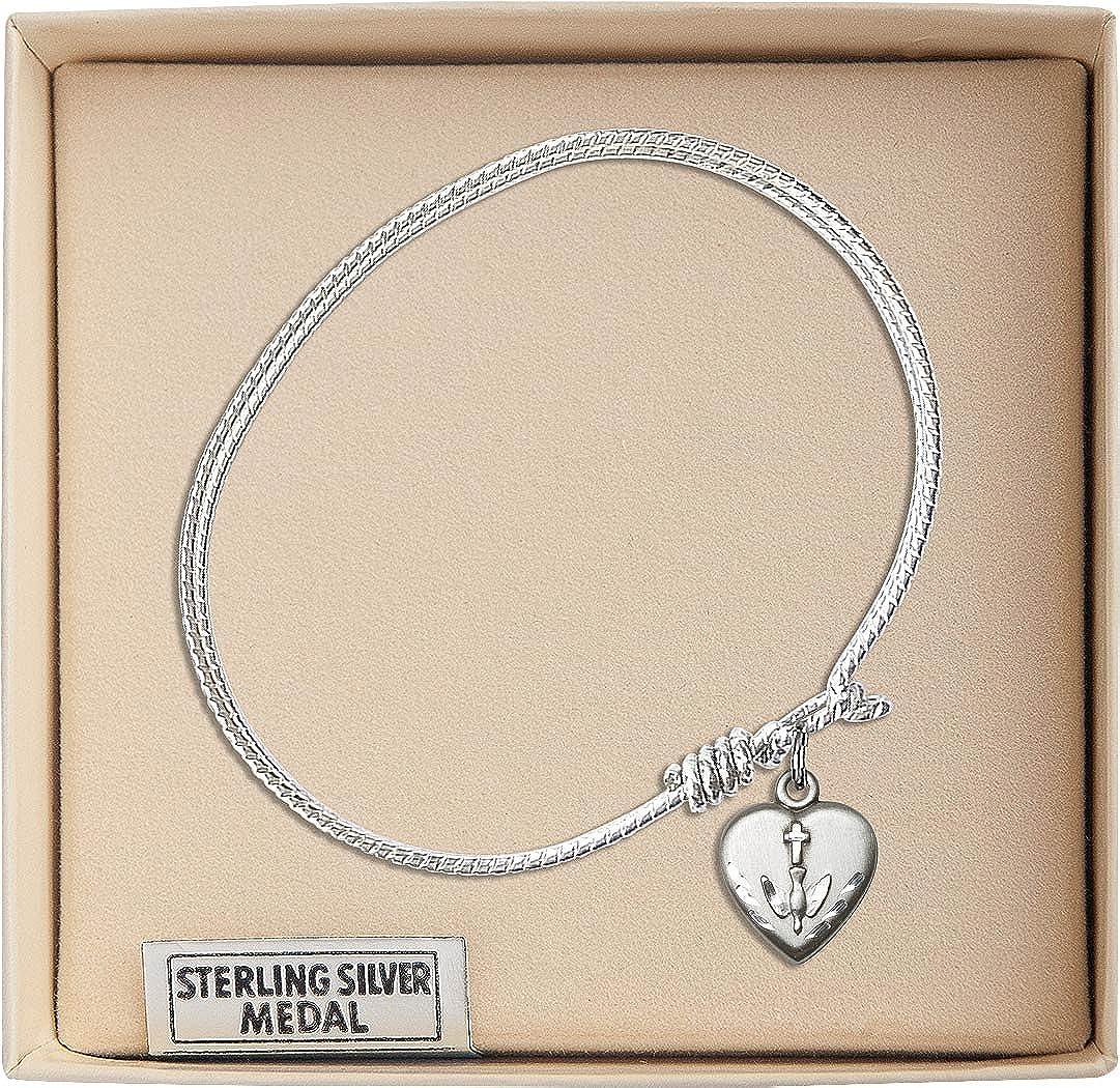 Confirmation charm. 7 1//4 inch Oval Eye Hook Bangle Bracelet with a Heart