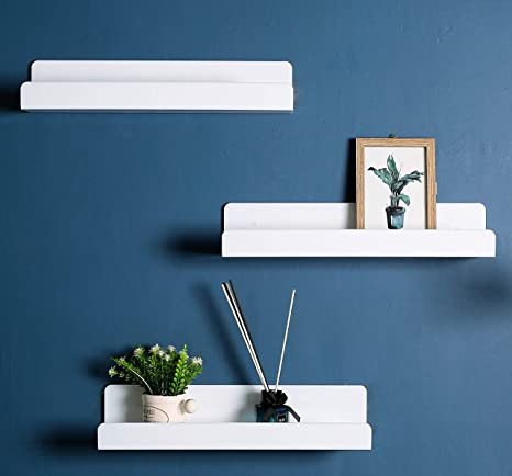 Amazon Com Ieek 15 Inch White Floating Wall Shelf Modern Picture Display Ledge And Wall Book Shelves For Kids Room Wall Storage Rack For Bedroom Living Room Office Set Of 3 Kitchen Dining