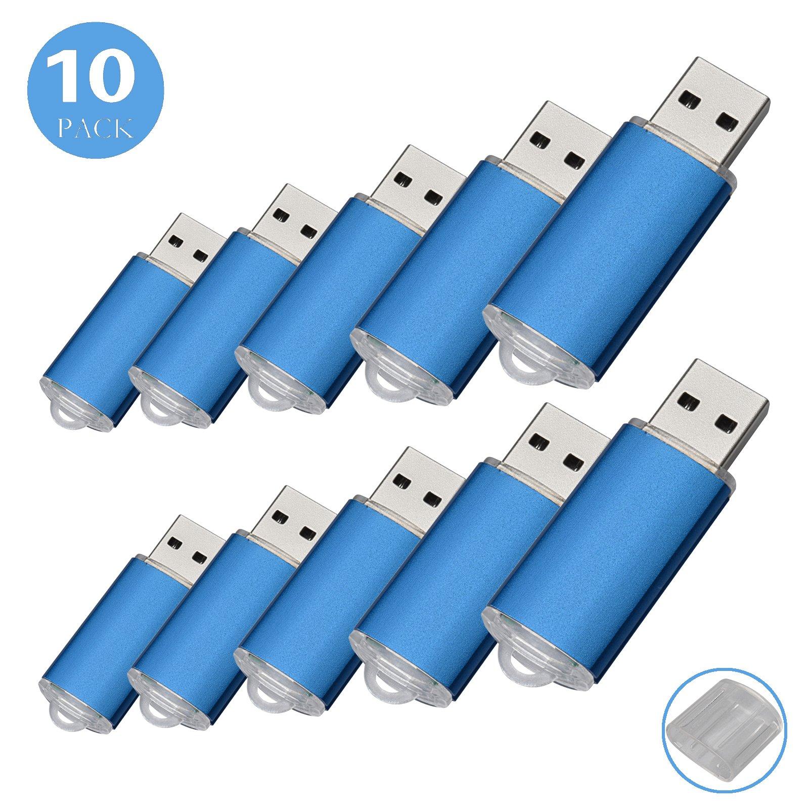 RAOYI 10Pack 1GB 1G USB Flash Drive USB 2.0 Memory Stick Bulk Thumb Drives Pen Drive Blue