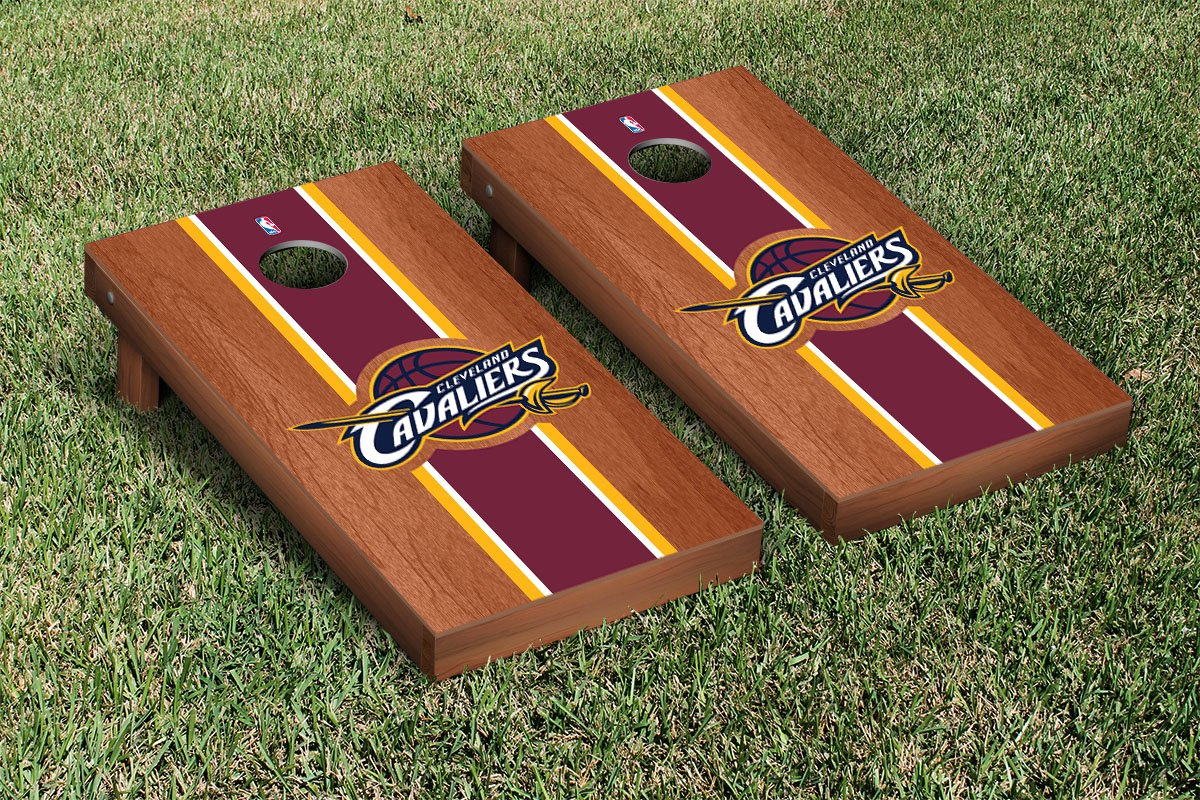 Cleveland Cavaliers NBA Basketball Cornhole Game Set Rosewood Stained Stripe Version