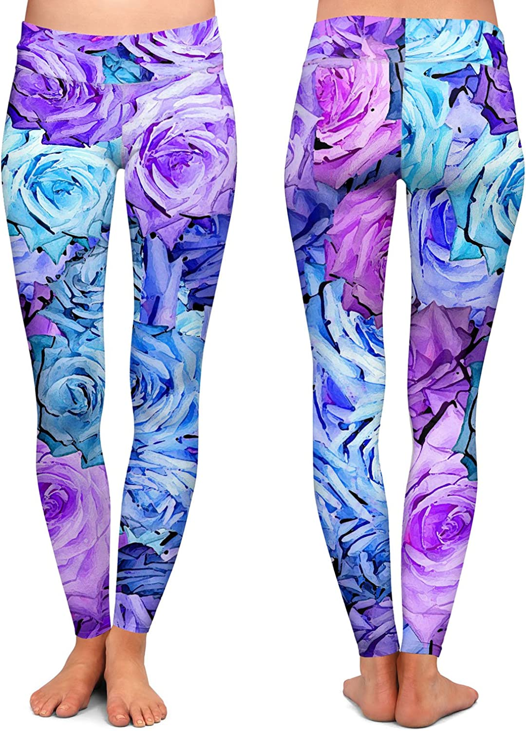 Athletic Yoga Leggings from DiaNoche Designs by Susie Kunzelman Roses Lavender Blue