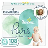 Diapers Size 4, 108 Count - Pampers Pure Protection Disposable Baby Diapers, Hypoallergenic and Unscented Protection, Enormou