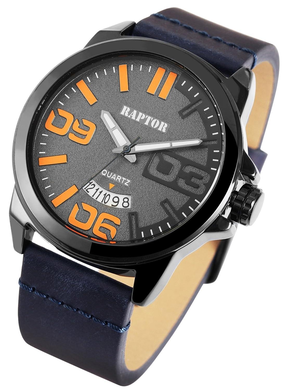 Quarzwerk Herren Oberseite Echtleder Armband Uhr Analog Raptor 3LqcAS45Rj