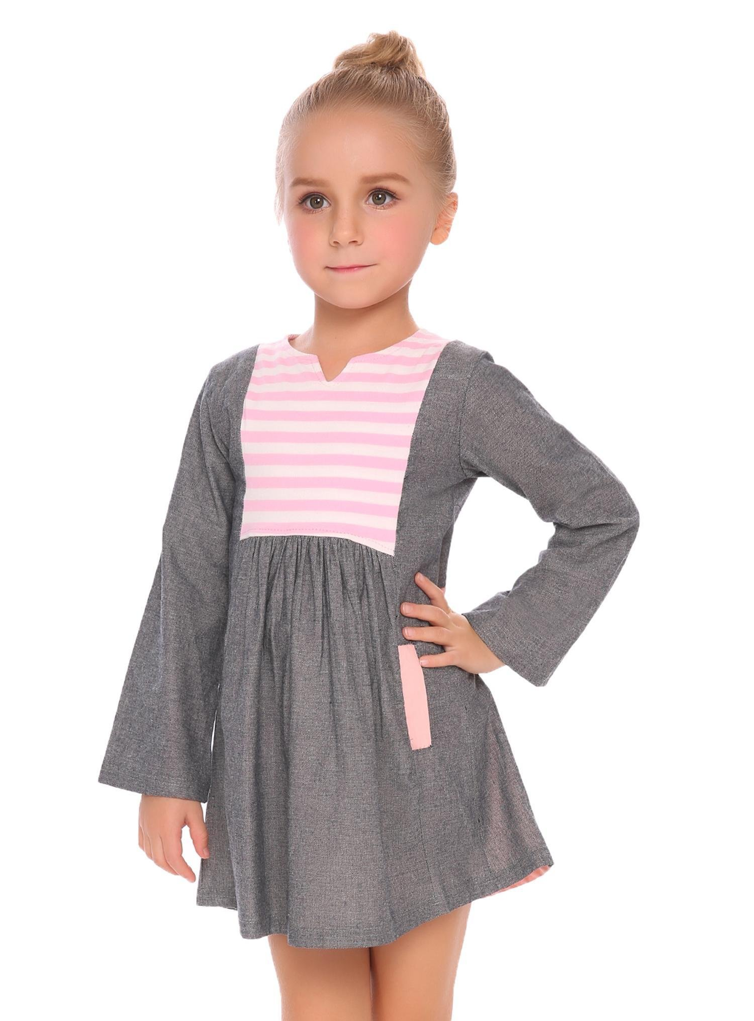 Goldenfox Little Girls cute tunic dress long sleeve fall top ruffle soft shirt
