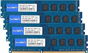 TECMIYO 16GB Kit (4x4GB) DDR3 1333MHz PC3-10600 PC3-10600U Non ECC Unbuffered 1.5V CL9 2RX8 Dual Rank 240 Pin UDIMM Desktop Memory Ram Module