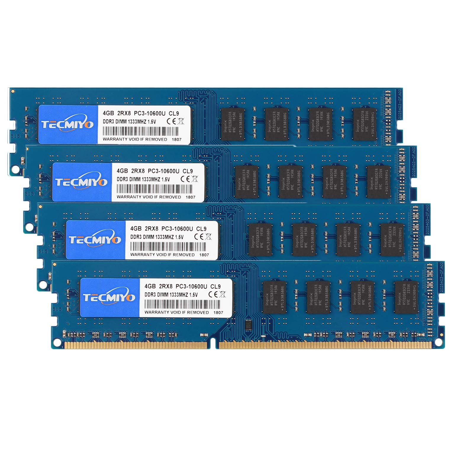 Memoria RAM 16GB TECMIYO Kit (4x4GB) DDR3 1333MHz PC3-10600 PC3-10600U Non ECC Unbuffered 1.5V CL9 2RX8 Dual Rank 240 Pi