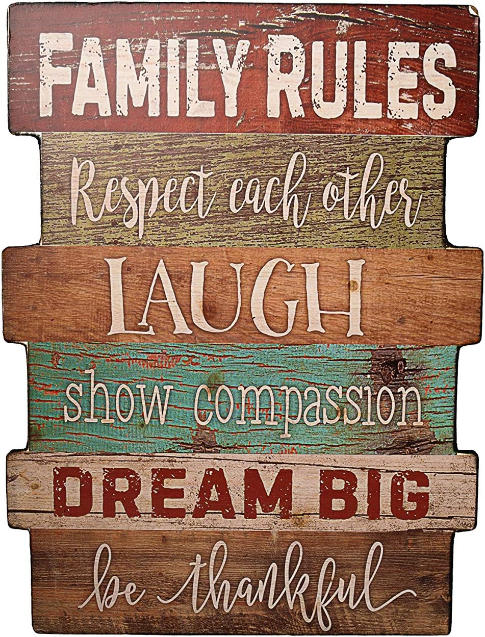 Farmhouse Décor Wood Family Sign, Decorative Spring Hanging Sign 11.8 x 15.8 inches, Family Rules Wall Art Inspiration Motto, Multicolor Rustic Sign for Home, Living Room, Kitchen, Bathroom