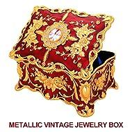 Rectangular Metallic Jewelry Box for Women, Girls; Vintage Jewelry Organizer Storage Box with Ornate Antique Finish, Two-Layer Design (Red)