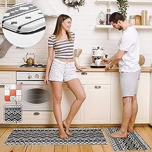 "Pretigo Anti Fatigue Kitchen Rug Set 2 Piece Non Slip Cushioned Floor Comfort Mat Waterproof Comfort Standing Kitchen Mat 17.5""x47"" +17.5""x30"""