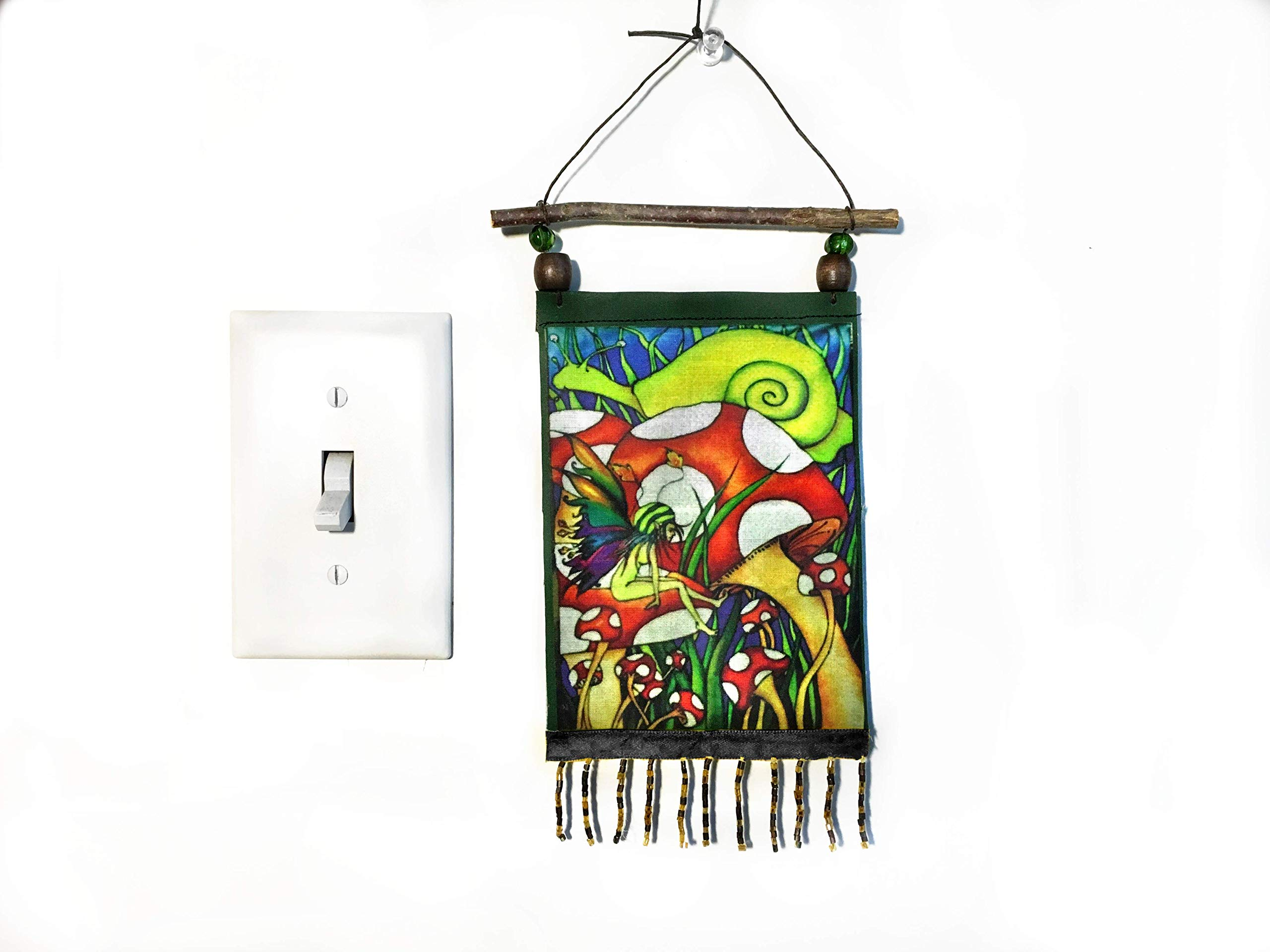 Pixie Fairy Art Wall Hanging Tapestry - Magic Mushroom and Mr. Snail