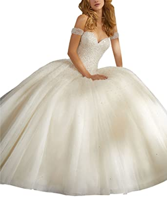 mollybridal off shoulders ball gown wedding dresses women pearls
