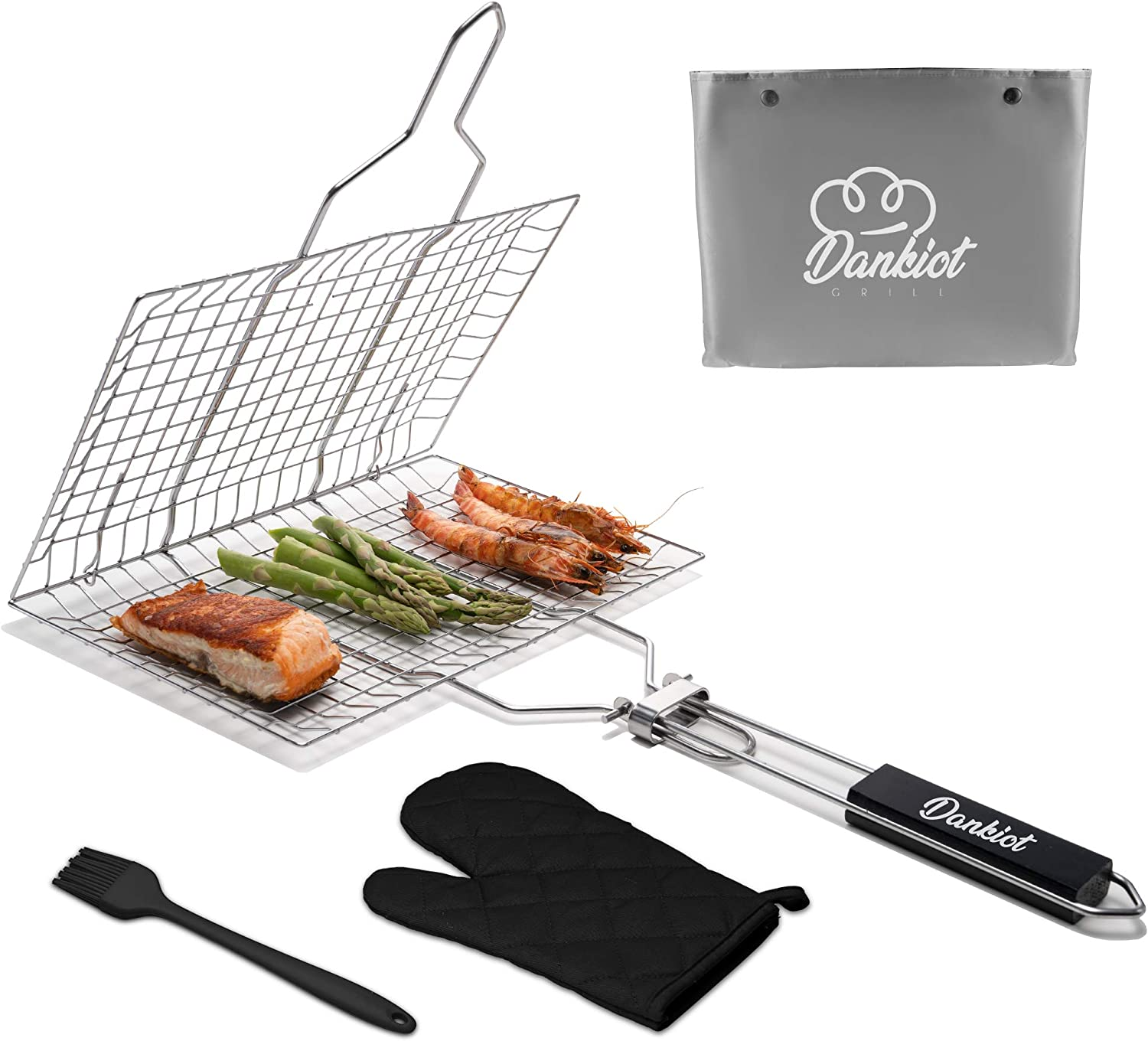 Dankiot Grill Basket for Outdoor Grilling Grill Basket for Vegetables, Fish, Meat, with Grilling Rack Glove and Basting Brush