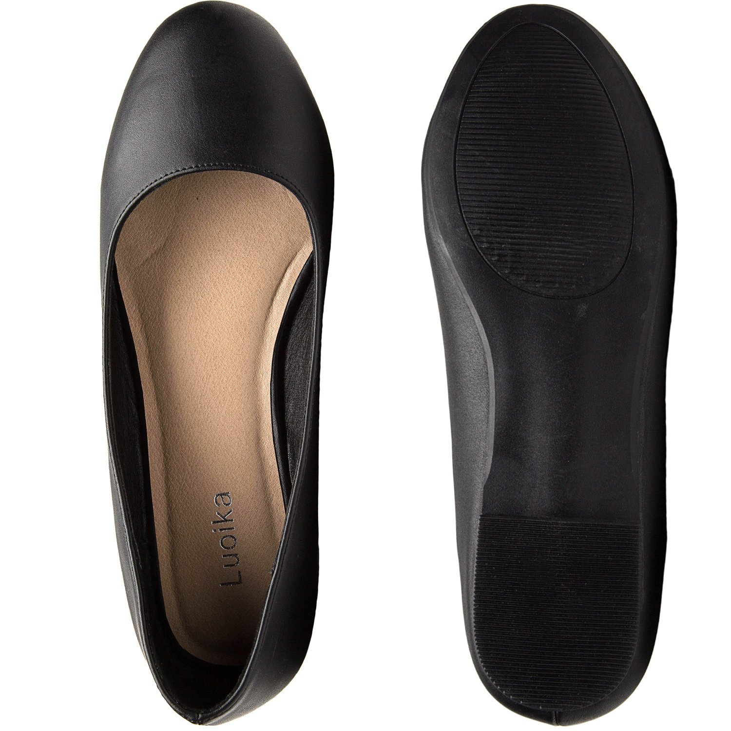 Luoika Women's Wide Width Flat Shoes - Comfortable Slip On Round Toe Ballet Flats. (180110 Black PU,9WW) by Luoika (Image #5)