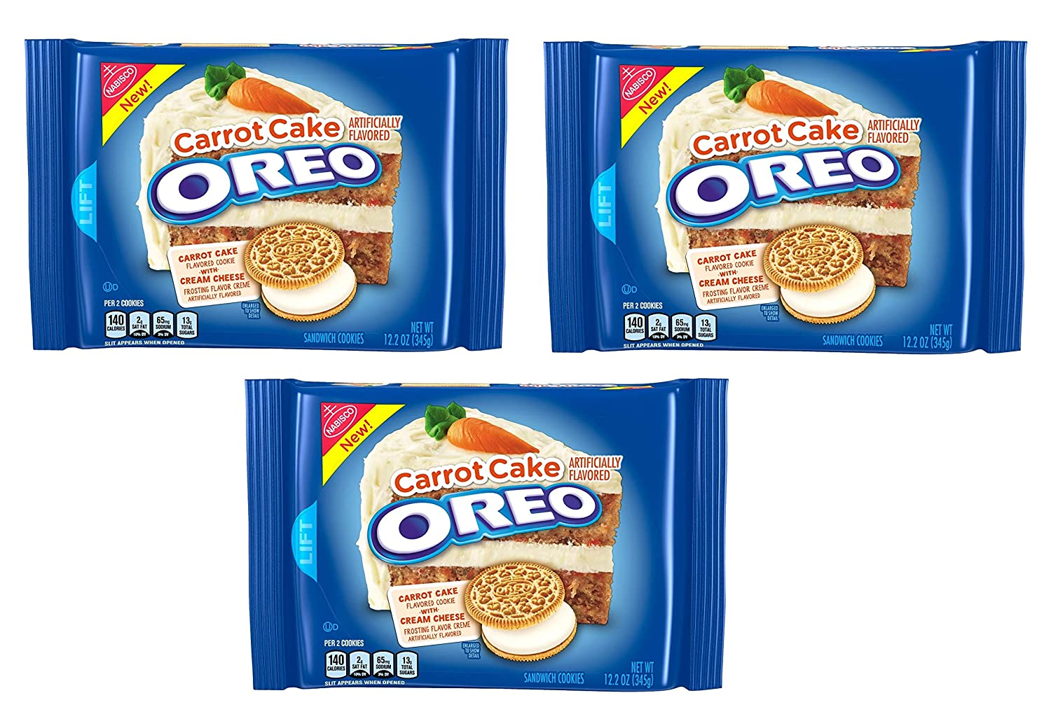 Amazon Com Oreo Carrot Cake Cookie 12 2 Oz Pack Of 3