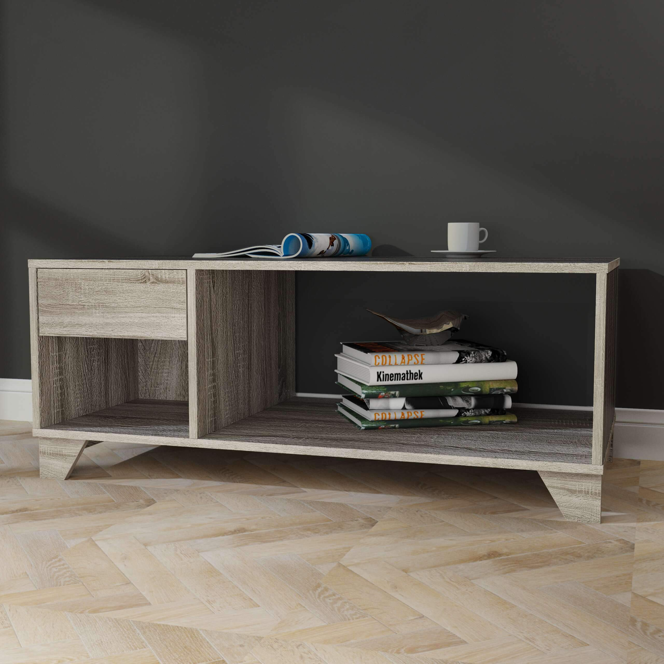 Weathered Grey Oak Coffee Table with Drawer and Open Storage Display by Unknown