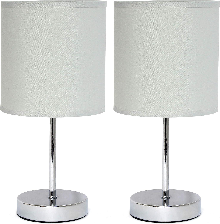 Chrome Mini Basic Table Lamp with Fabric Shade 2 Pack Set, Slate