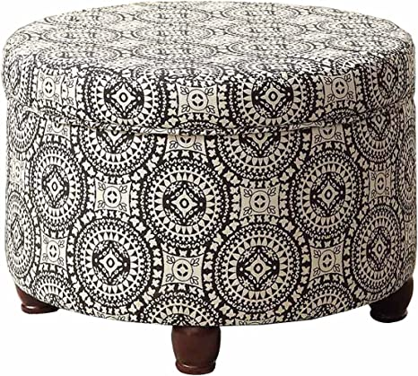Amazon Com Homepop Upholstered Round Storage Ottoman With Lid Black And White Medallion Furniture Decor