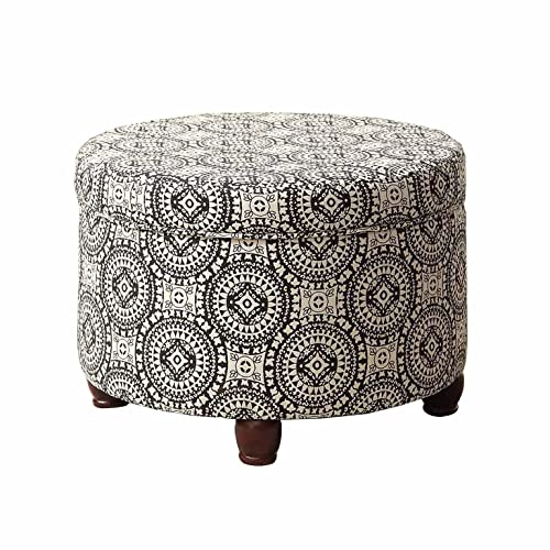 HomePop Upholstered Round Storage Ottoman with Lid, Black and White Medallion
