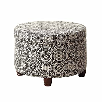 Stupendous Homepop Upholstered Round Storage Ottoman With Lid Black And White Medallion Squirreltailoven Fun Painted Chair Ideas Images Squirreltailovenorg
