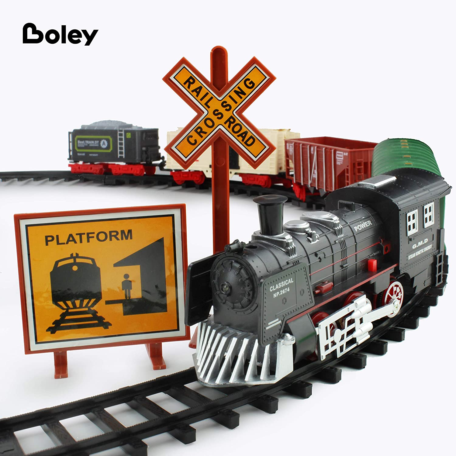 Boley Classic American Kids Train Set 40 Pc Electric Train Toy and Track Set for Ages 3+