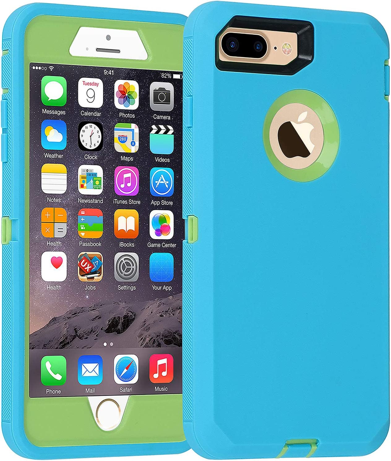 Co-Goldguard Case for iPhone 7 Plus/8 Plus Heavy Duty 3 in 1 Built-in Screen Protector Durable Cover Dust-Proof Shockproof Scratch-Resistant Shell Compatible with iPhone 7+/8+ 5.5,Teal&Green