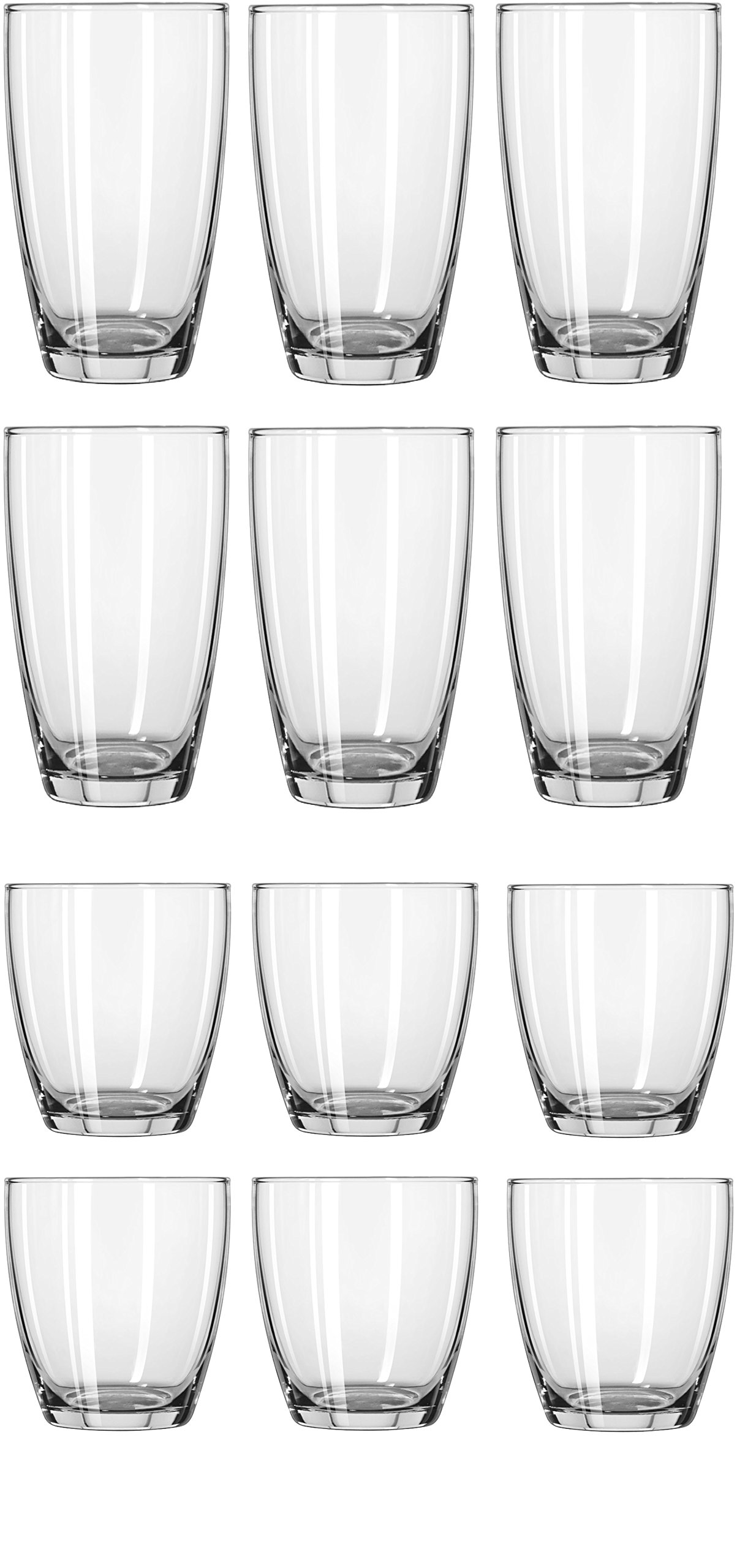 Circleware 44539 Smooth Huge Set of 12, 6-16oz Drinking Glasses & 6-13oz Whiskey Glass, Kitchen Glassware for Water, Beer, Wine Liquor Beverage, 16oz&13oz, Smooth 12pc by Circleware (Image #2)