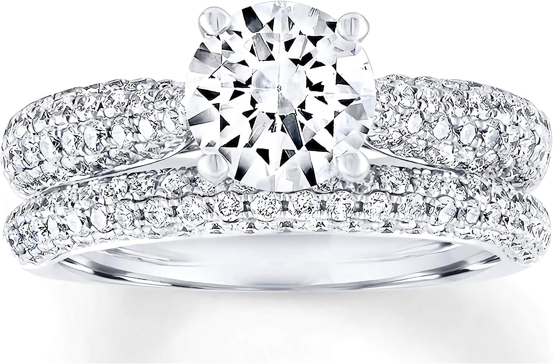 Forever One Engagement Ring Simple Bridal Set Wedding Ring Set Round Bridal Set band in SOLID 14k18K White Gold 6 Prong ring set