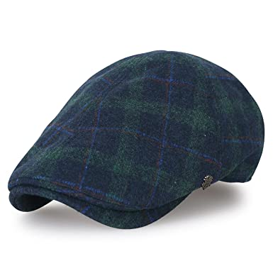 ililily Tartan Checkered Wool-Blend Gatsby Newsboy Hat Cabbie Hunting Flat Cap, Green Plaid