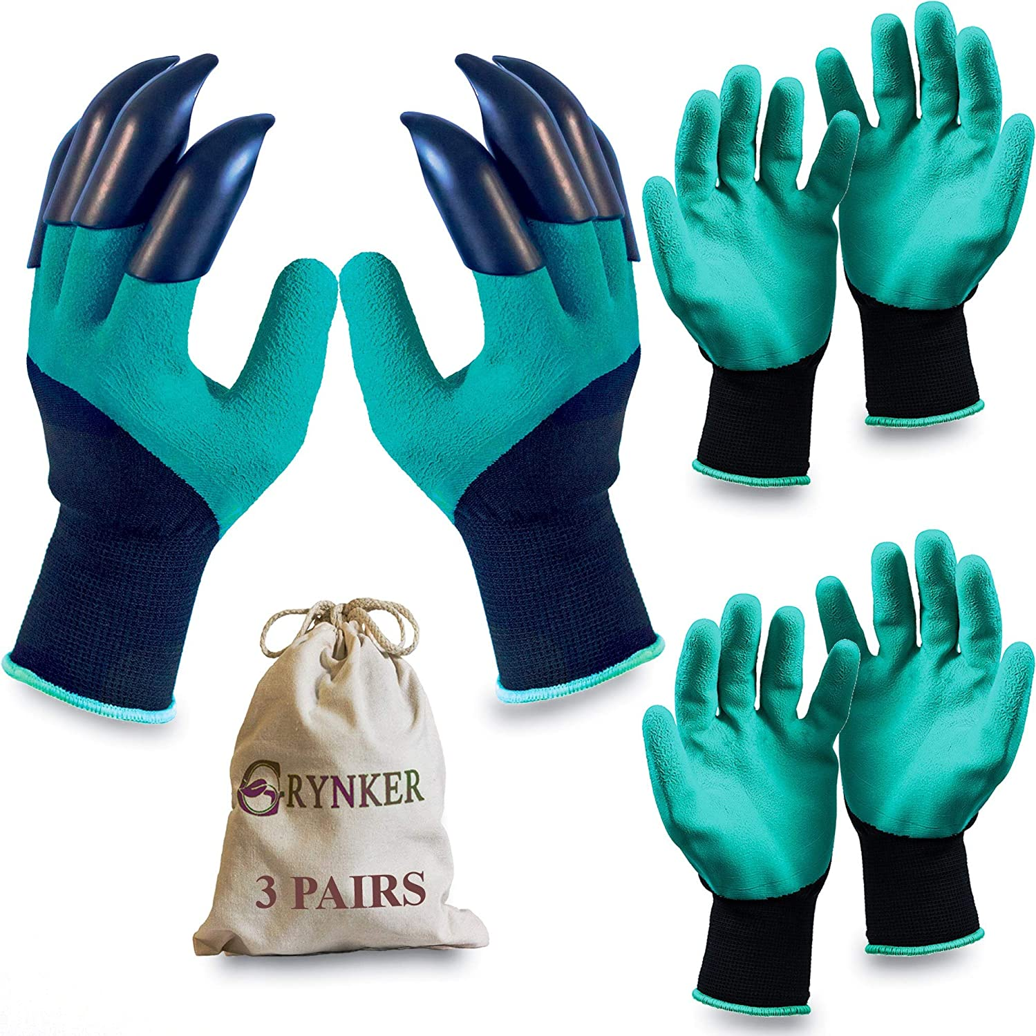 Garden Gloves with Claws - 3 Pairs for Digging, Planting, Weeding, Seeding - Waterproof, Protect Nails and Fingers, Gardening Gift - Green Genie