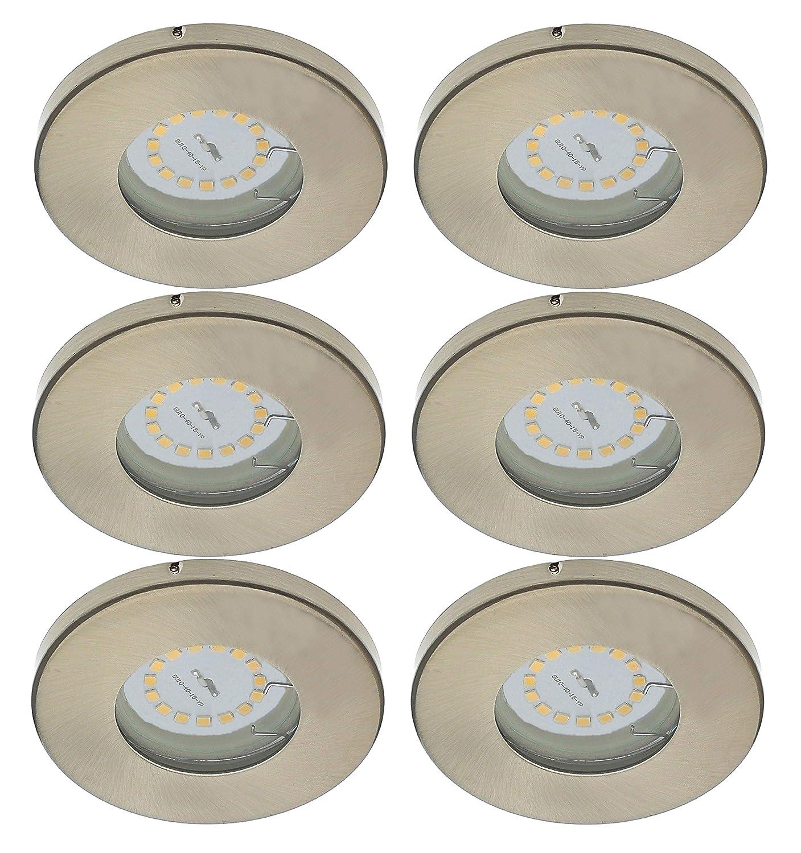 Dusche Deckenleuchte Einbauspots Deckenspots 6x 5 W LED Modul nur 3cm Einbautiefe f/ür Bad Trango 6er Set IP44 LED Einbaustrahler in Chrom Rund TG6729IP-068MO inkl