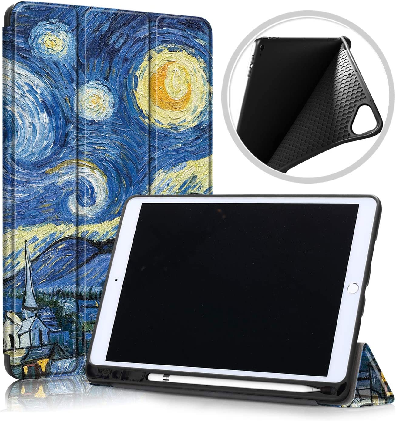UUcovers Smart Case for Apple iPad 10.2 inch 2019 iPad 7th Generation, Van Gogh Canvas PU Leather Shockproof TPU Back Trifold Shell Stand Folio Cover with Pencil Holder [Auto Wake/Sleep], Starry Night