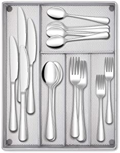 Hiware 40-Piece Silverware Set with Organizer Tray for 8, Stainless Steel Flatware Cutlery Set For Home Kitchen Restaurant Hotel, Mirror Polished, Dishwasher Safe