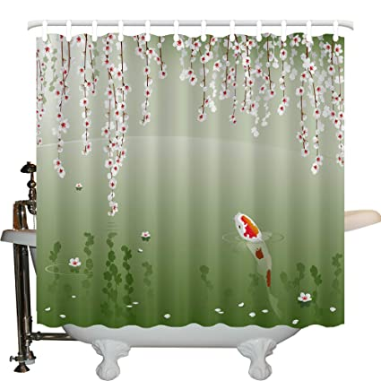 JXHLMS Koi Fish Shower Curtain By Japanese Painting Style Hanging Cherry Flowers Floating