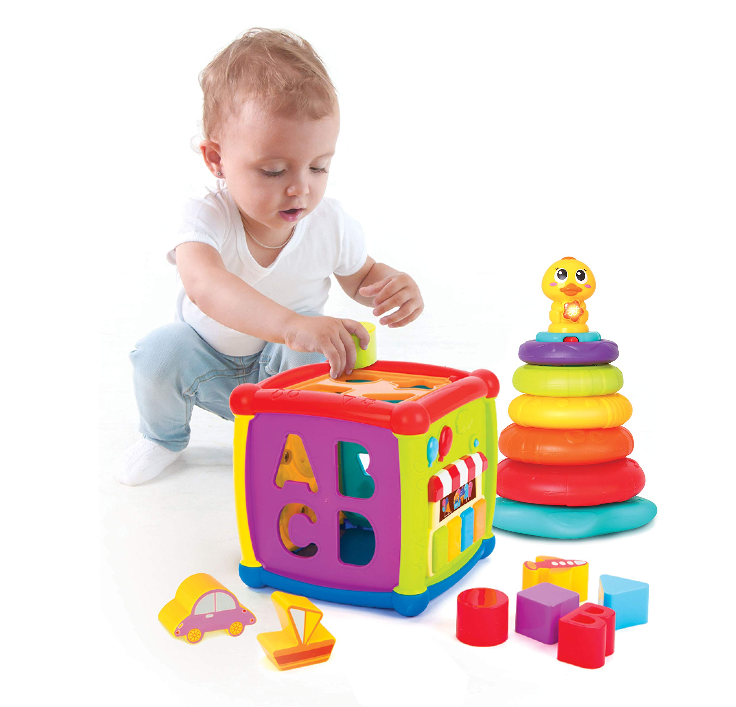 JOYIN Baby Activity Center Flashing Baby Stack Toys with Shape Color Sorting Alphabet Activity Cube Music Cute Toys by JOYIN (Image #2)
