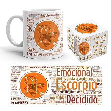 Kembilove Taza de Desayuno Horóscopo Escorpio – Taza de café de Signo del Zodiaco Escorpio – Tazas de Café y Té Horóscopo Escorpio – Regalo Original ...