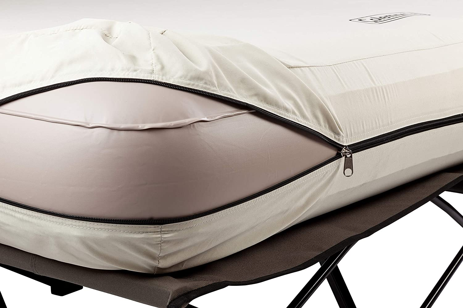and Pump Combo Coleman Camping Cot Air Mattress Folding Camp Cot and Air Bed with Side Tables and Battery Operated Pump