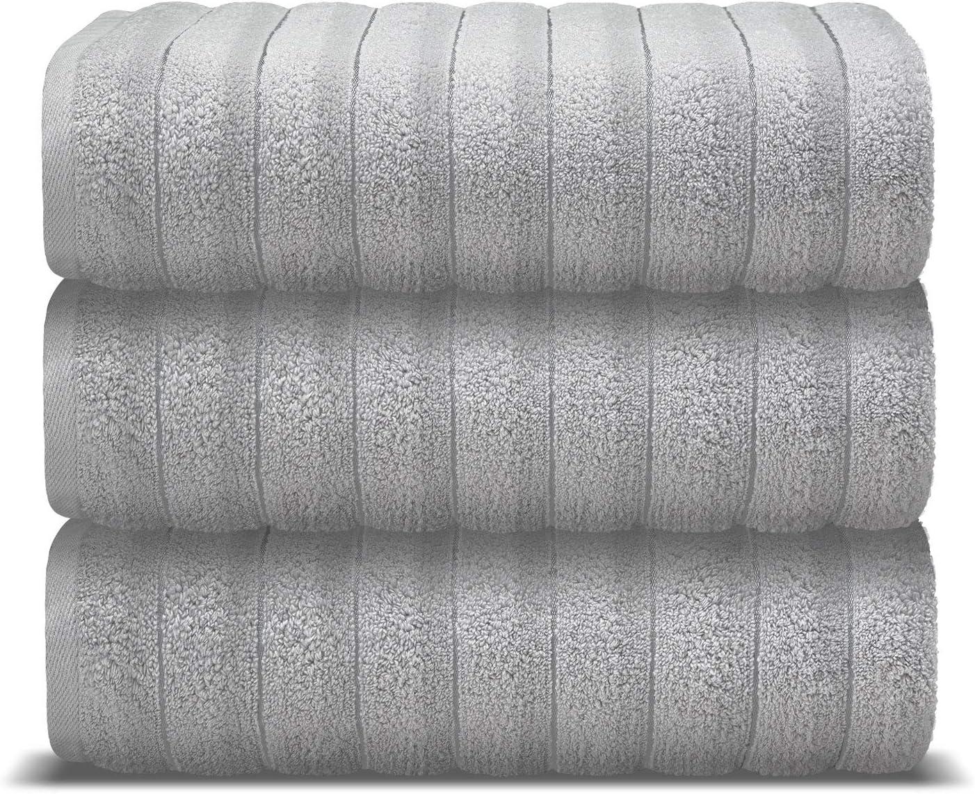 AROW9 Luxury Bath Towels 3 Pack 100% Turkish Cotton – Premium Quality Decorative Absorbent & Soft - Fancy Home Guest Bathroom & Spa Towel - Elegant Jacquard ''Piles of Plush'' Design - Silver Gray